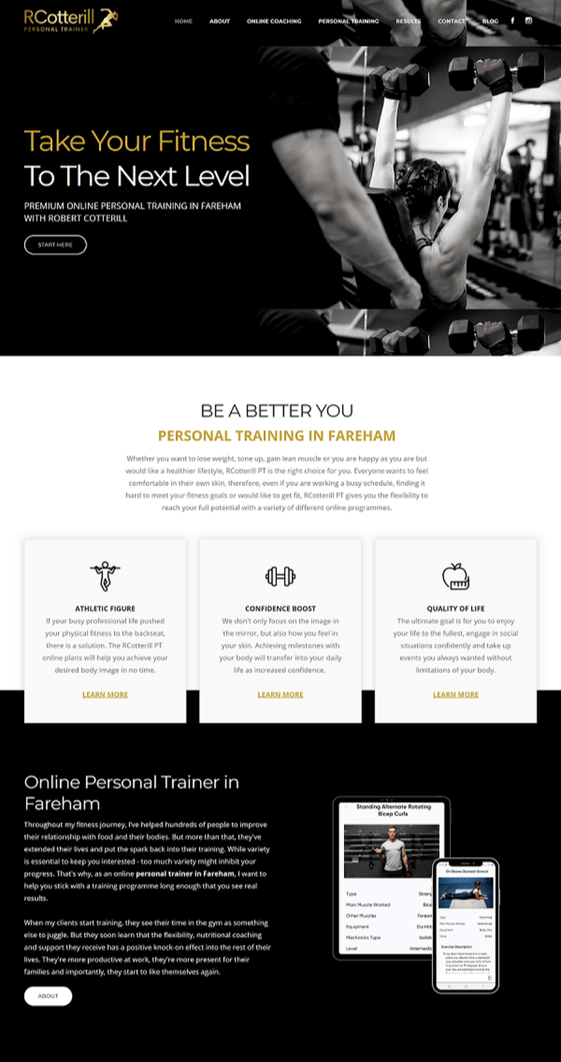 professional personal trainer website